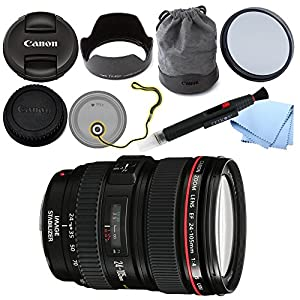 Canon EF 24-105mm f/4L IS USM AF Lens (in White Box) for EOS 1D, 5D III, 6D, 7D 70D + GID Accessory Bundle