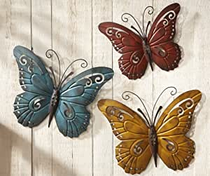 Nature inspired metal butterfly wall art trio home kitchen - Decoration mural en metal ...