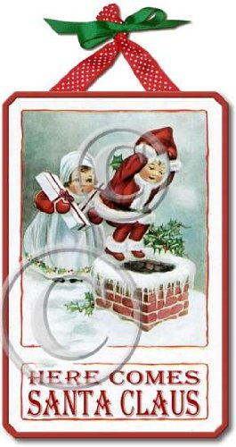 Item 09168 Vintage Victorian Santa Christmas Sign Plaque