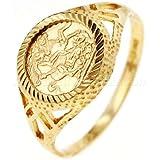 9ct Gold St. George Diamond Cut Peso Ring