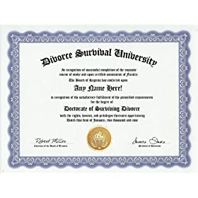 Surviving Divorce Survival Divorce Survivor Degree: Custom Gag Diploma Doctorate Certificate (Funny Customized Joke Gift - Novelty Item)
