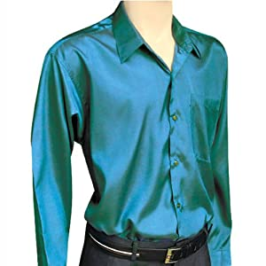 Men 39 s green long sleeve thai silk hawaiian shirt xxxl at for Mens silk shirts amazon