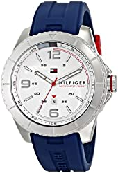 Tommy Hilfiger Men's 1791000 Stainless Steel Watch With Blue Silicone Band