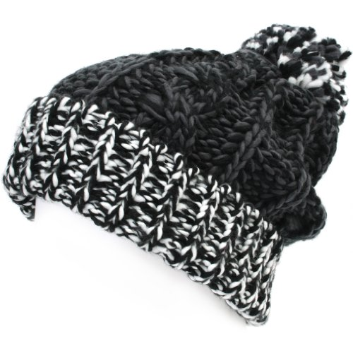 4d49bbe59e5 ililily Two-tone Rigsby Pom Beanie Skull Cap Long Fold Knit Slouchy Winter  Beanie (