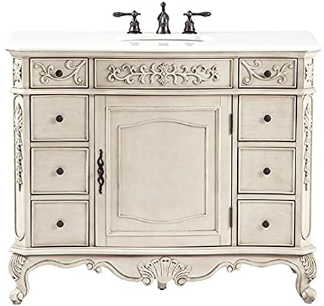"Winslow 8 drawer Deluxe Vanity, 37""Hx45""Wx22""D, ANTIQUE WHITE"