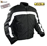 Men's Level-3 Armored Black and White Waterproof Tri-Tex? Fabric Motorcycle Jackets - Size : Large