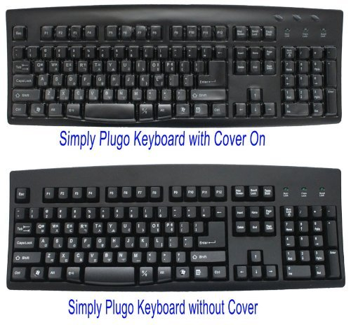Korean And English Computer Keyboard - Black Wired Usb Plug - White Characters On Black Keys Bundled With Simply Plugo Cover For Extra Protection From Dirt, Dust, Liquids, And Contaminants.