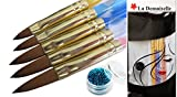La Demoiselle 5 x 2 Ways Spiral Tool Sable Acrylic Nail Art Brushes Pen & Cuticle Pusher With Glitter Powder