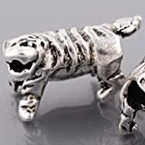Endearing Charms Silver Tone Tiger Spacer Charm Bead Fits Pandora Troll Charm Bracelets Necklaces