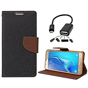 Online Street Premium Flip Cover With OTG Cable For Samsung Galaxy J2 - (Black Brown + OTG)