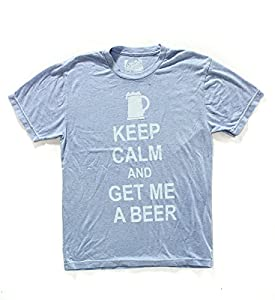 Local Celebrity Men's Graphic T-Shirt Keep Calm / Beer in Light Blue Size Small