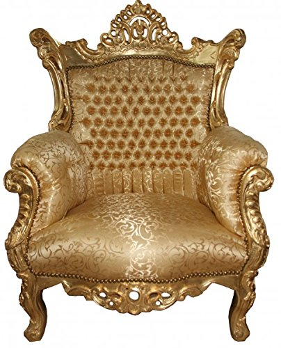 Casa Padrino Barock Sessel 'Al Capone' Gold Muster / Gold Möbel- Antik Stil