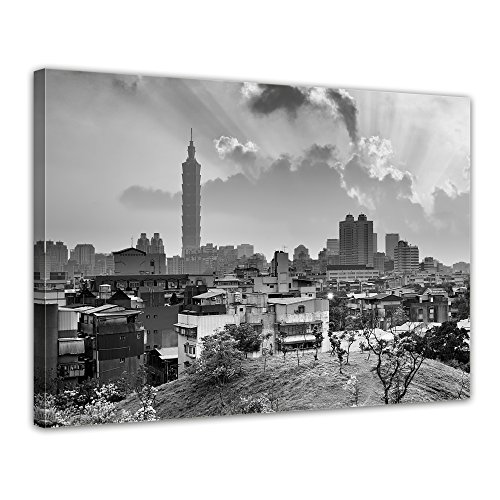 """Bilderdepot24 Leinwandbild """"Sonnenuntergang Taipeh SW"""" - 70x50 cm 1 teilig - fertig gerahmt, direkt vom Hersteller"""