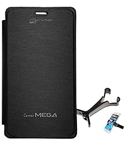 TBZ Flip Cover Case for Micromax Launches Canvas Mega E353 with Multi Stand Tablet/Phone Holder -Black