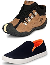 Tempo Men's Combo Of Brown Outdoor Shoes & Blue Slip On Loafers
