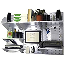 Wall Control 10-OFC-300 GVW Office Wall Mount Desk Storage and Organization Kit, Galvanized/White