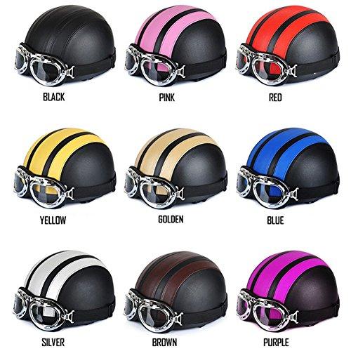 Kingtoys 54-60cm Motorcycle Motorbike Scooter Open Face Half Leather Helmet with Visor UV Goggles Retro Vintage Style Black