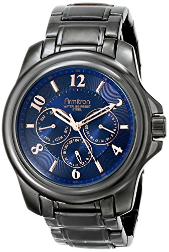 Armitron Men'S 20/4924Bldg Multi-Function Navy Blue Dial Gunmetal Bracelet Watch