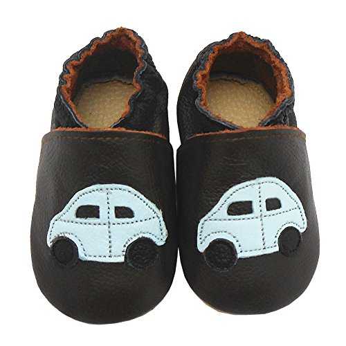 Sayoyo Baby Car Soft Sole Leather Infant Toddler Prewalker Shoes (0-6 months, Brown)