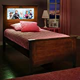 LightHeaded Beds Canterbury Twin Bed with back-lit LED Headboard Imagery - Chestnut