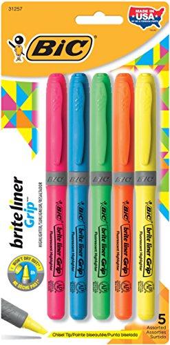 brite-liner-grip-highlighter-chisel-tip-fluorescent-colors-5-set