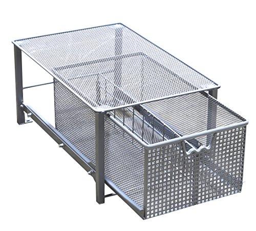 Decobros Mesh Cabinet Basket Organizer Silver Large 10