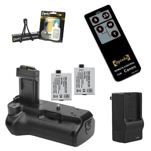 Opteka Battery Pack Grip / Vertical Shutter Release with Charger, 2 LP-E5 Batteries (3600 mAh Total), Wireless Remote, Cleaning Kit, & Mini Tripod for Canon EOS Digital Rebel T1i & XSi