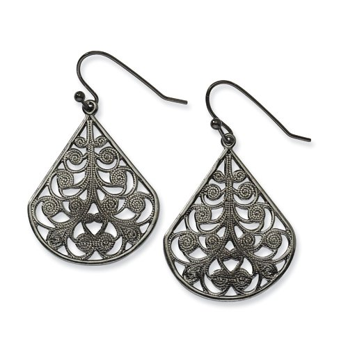 1928 Boutique Black-plated Filigree Dangle Earrings