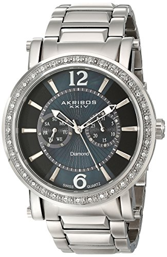 Akribos-XXIV-Mens-AKR465SS-Ultimate-Stainless-Steel-Swiss-Day-and-Date-Diamond-Watch