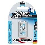 Ansmann ANS9V300MaxE PP3 9v 300mAh Rechargeable Batteries Carded 1