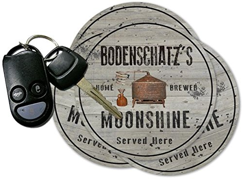 BODENSCHATZ'S Home Brewed Moonshine Coasters - Set of 4 pavone family crest square coasters coat of arms coasters set of 4