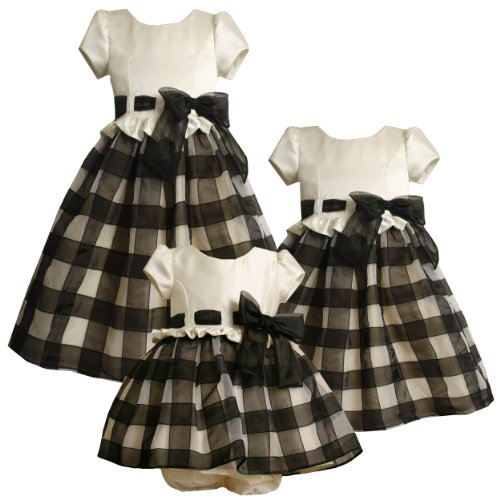 Size-3T BNJ-8241X BLACK WHITE SATIN ORGANZA RIBBON CHECK RUFFLE WAISTLINE Special Occasion Flower Girl Holiday Party Dress,X28241 Bonnie Jean TODDLERS