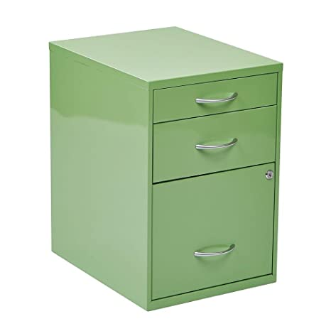 OSPdesigns HPBF6 22-in. 3-Drawer Metal Home Office File Cabinet in Green