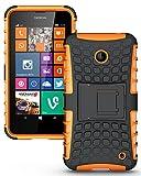 Heartly Flip Kick Stand Spider Hard Dual Armor Hybrid Bumper Back Case Cover For Nokia Lumia 630 635 638 Dual Sim - Mobile Orange