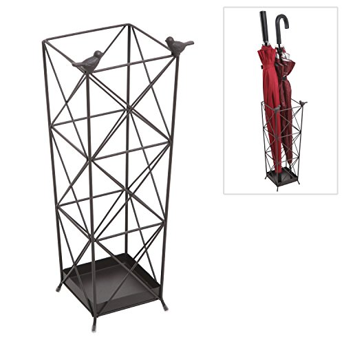 Umbrella Holder Stand Rack Freestanding Black Metal Crossbar Bird Design for Entryway or Foyer - MyGift
