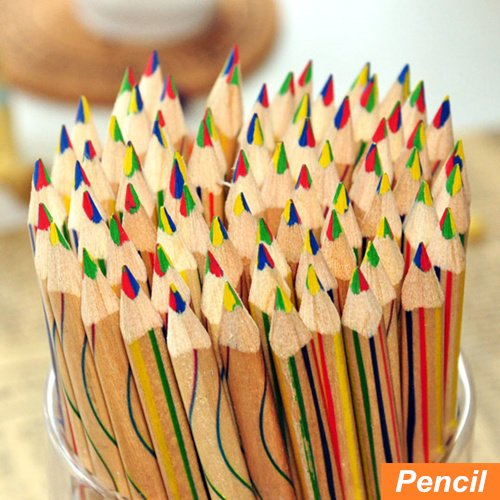 Seasonstorm (TM) 10 x Rainbow Color Pencil 4 in 1 Colored Pencils For Drawing Stationery with Free Gift Logo Keychain