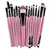 Maquillaje juego de brochas - SODIAL(R)15 pcs/set Sombra de ojos Fundacion Ceja pincel de labios, Maquillaje juego de brochas (rosa y negro)