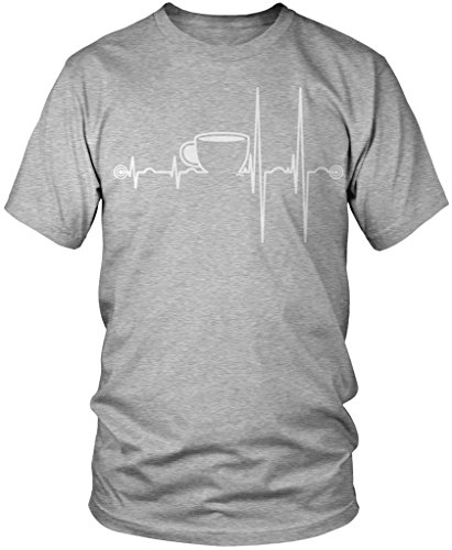Coffee Heartbeat, Heart Beats For Coffee Men's T-shirt, Amdesco, Athletic Heather Gray 4XL (Heather Coffee Cup compare prices)