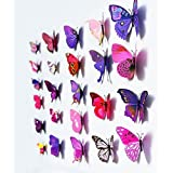 12 Pcs Of 3D Butterfly Pink Color PVC Stickers DIY Wall Stickers Crafts Butterflies (3 Pack)