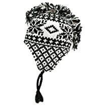 Luxury Divas Black & White Mohawk Winter Print Nepalese Trapper Cap Hat