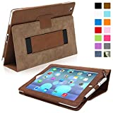 Snugg iPad 4 & iPad 3 Leather Case in Distressed Brown - Flip Stand Cover with Elastic Hand Strap and Premium Nubuck Fibre Interior - Automatically Wakes and Puts the Apple iPad 4 & 3 to Sleep