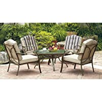 Mainstays Warner Heights 5-Piece Patio Conversation Set, Tan, Seats 4 from Mainstays