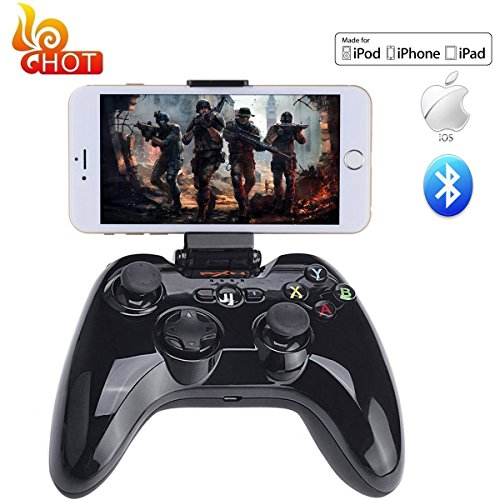 Apple MFi Certified Bluetooth Wireless Gamepad, Megadream® IOS Gaming Game Controller Joystick for Apple iPhone 6S Plus 6 5S 5 4S, iPad Air 2, iPad Mini 4 3, iPad Pro, Apple TV, iPod Touch 5 - Black