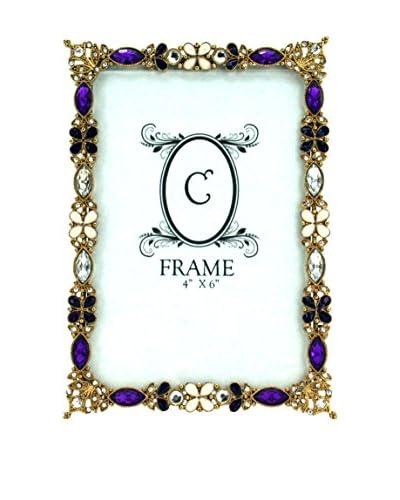 4″ x 6″ Jeweled Pewter Frame, Purple/Gold/White