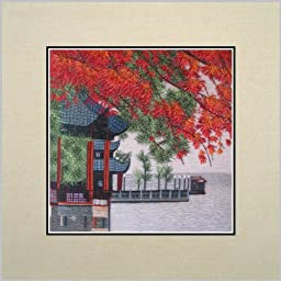 King Silk Art 100% Handmade Embroidery Beautiful Quiet West Lake Tower Red Maple Leaf Scenery Chinese Print Unframed Wildlife Landscape Painting Oriental Gift Asian Wall Art Décor Artwork Tapestry Hanging Picture Gallery 37034W