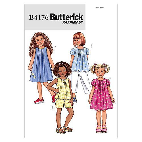 Butterick Patterns B4176 Children's/Girls' Top, Dress, Shorts and Pants, Size 2-3-4-5