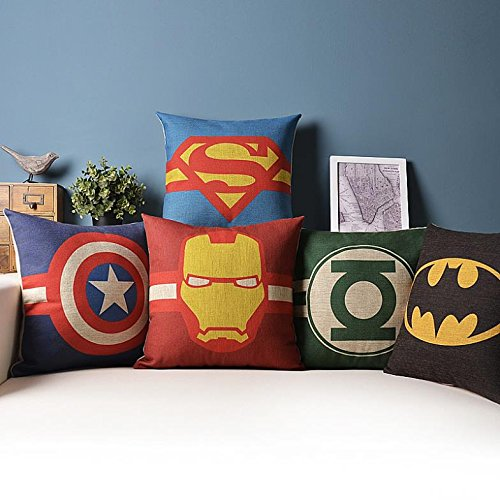 yirone (TM) 1 pc Superman Ironman Batman Cuscino decorativo Divano Casa Decorazione (senza imbottitura)