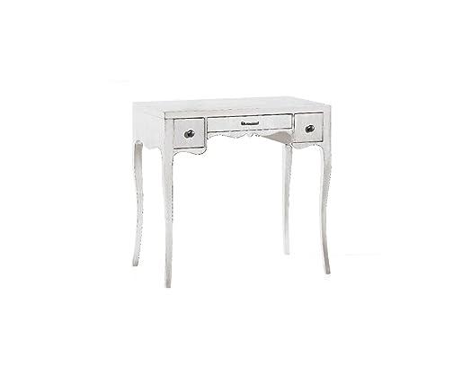 CLASSICO scrittoio Shabby Chic bianco scrivania per studio con 3 cassetti 80x44x79 1256