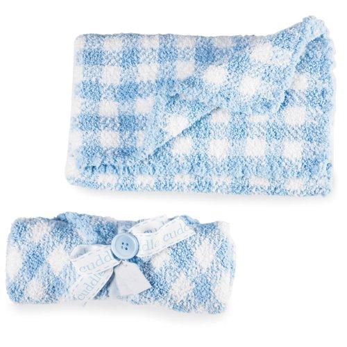 Mud Pie Baby Gingham Chenille Blanket, Blue/White front-980442