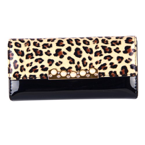 Your Gallery Women Leopard Print Clutch Rhinestone Magnetic Purse Faux Leather Wallet New Hot